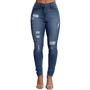 VICVIK Women Skinny Elastic Distressed Ripped Boyfriend Jeans Stylish Denim Joggers Pants (L, BLue1)
