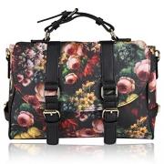 VMATE PU Square Totes Flower Image Delicate Handbag Satchel Shoulder Bag Purse Backpack for Women.