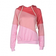 Vovotrade Women Long Sleeves Hoodie Sweatshirt Sweater Casual Hooded Coat Pullover (Size:M, Pink).