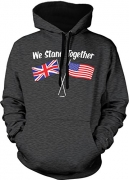 We Stand Together USA & UK Adult Two Tone Hoodie Sweatshirt (Charcoal / Black Strings, Large)