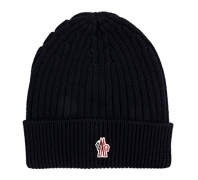 Wiberlux Moncler Men's Logo Patch Detail Wool Knit Beanie One Size Black – Men's Hat Best Price
