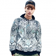 Men's Coat Abstraction Art Zipper Design Slim Fit