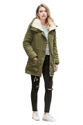 Roiii Women Military Winter Casual Outdoor Coat Hoodie Jacket Long Trench Parkas (XXX-Large / 16, Black).