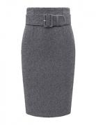 Winwinus Womens Woolen Knee Length All-Match Solid Office Pencil Skirt Dark Grey M