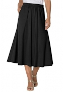 Stretch is Comfort Women's Plus Size Comfortable Soft Stretch MIDI Skirt Black 3X