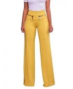 Women's Straight Fit High Waist Palazzo Wide Leg Trouser PantS Blue XL – Women's Capris Best Price