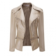 Faux Collar Short Coat Leather Jacket by TOPUNDE