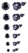5MM Black Screw Stud Earrings Men, Stainless Steel Cheater Fake Ear Plugs Gauges Illusion Tunnel