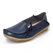 Women's Leather Loafers Shoes Wild Driving Casual Flats Dark Blue 8.