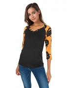 Women's Long Sleeve V Neck Loose Shirt Floral Printed Raglan Top Tunic (XL, 1).