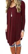 AUSELILY Women's Long Sleeve Pleated Loose Swing Casual Dress With Pockets Knee Length (M, Wine Red)