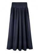 Womens One Size Side Pocket Solid Maxi Long Skirt (One Size, Navy)