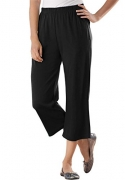 Women's Plus Size 7-Day Knit Capris Black,M – Women's Capris Best Price