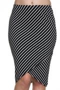 Womens Striped Bullet Mid Length Split Wrap Style Pencil Envelope Skirt Navy and White Medium