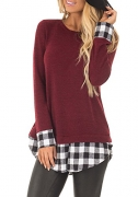 BLENCOT Women's Color Block Long Sleeve Tunic Sweatshirt Tops With Kangaroo Pocket-Red Small.