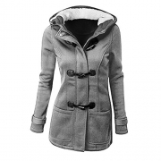 Women's Winter Casual Outdoor Warm Hooded Pea Coat Jacket size Large (LIGHT GREY).