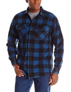 Wrangler Men's Authentic Cowboy Cut Work Western Long-Sleeve Firm Finish Shirt, Blue Stonewashed, Large