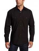 Wrangler Men's Authentic Cowboy Cut Work Western Long-Sleeve Firm Finish Shirt, Blue Stonewashed, Large.