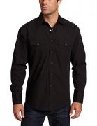 Wrangler Men's Authentic Cowboy Cut Work Western Long-Sleeve Firm Finish Shirt, Blue Stonewashed, Large.