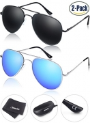 Young4us Aviator Sunglasses Military Style, Mirror Polarized UV 400 Protection Men, Black/Blue, 2 Piece – Men's Sunglasses Best Price