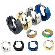FIBO STEEL 4 Pairs Stainless Steel Round Stud Earrings for Men Women Ear Piercing Earrings Cubic Zirconia Inlaid,5MM