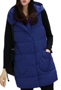 Zimaes Women Mid Long Performance Oversized Quilted Jacket Vest Navy Blue M