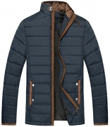 Cloudy Arch Men's Winter Thicken Removable Hooded Quilted Cotton Jacket(Navy,Large)